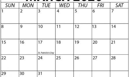 Blank March Calendar 2020 Template