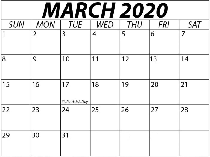 March Calendar 2020 Printable, Editable, A4, Landscape, Portrait