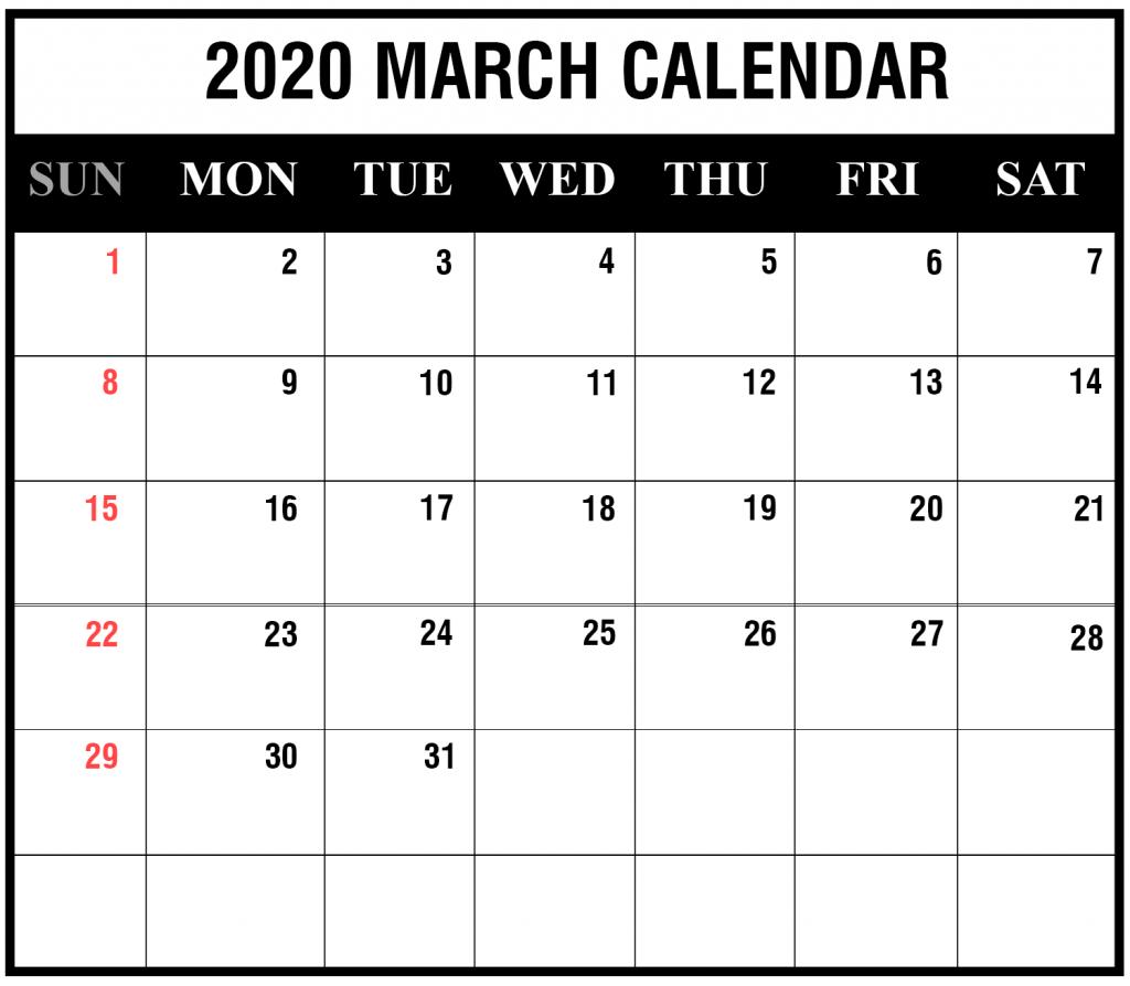 Editable March 2020 Calendar Template