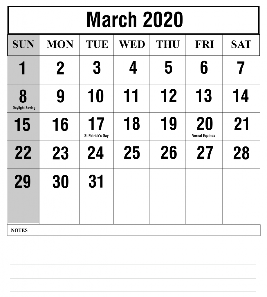 Fillable Calendar For March 2020 To Print