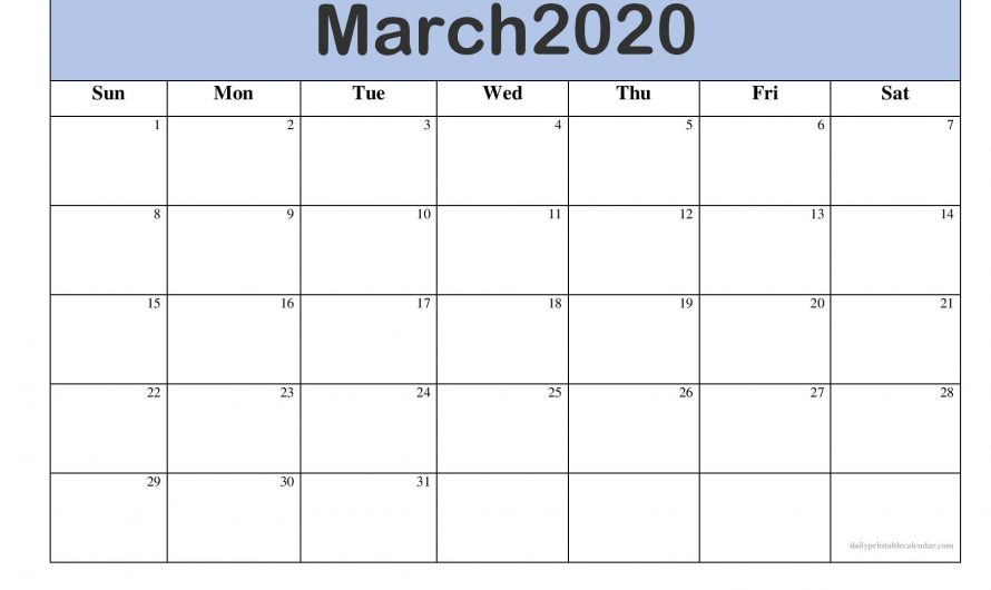 Editable March 2020 Calendar Blank Template