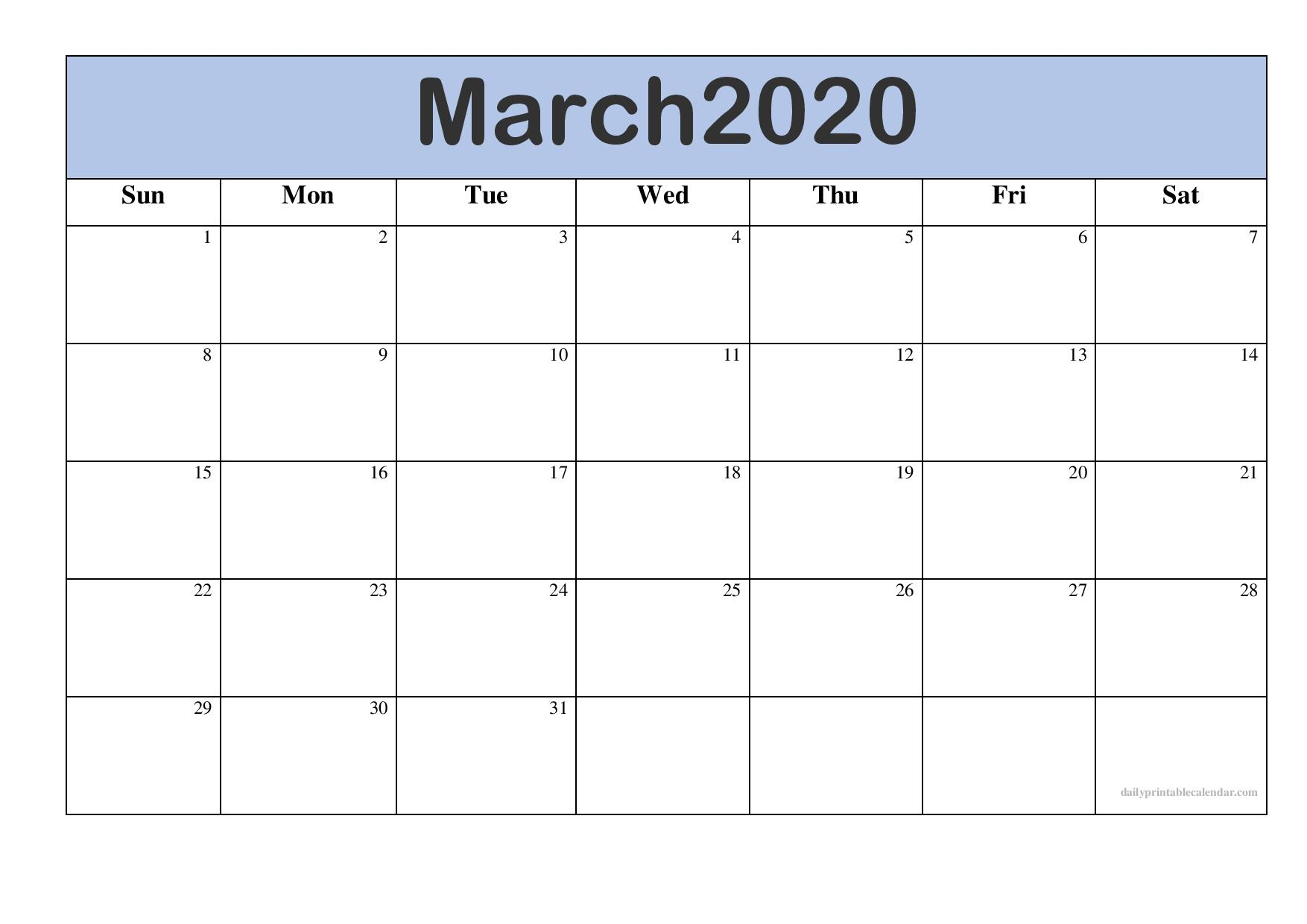 March 2020 Calendar Editable Template