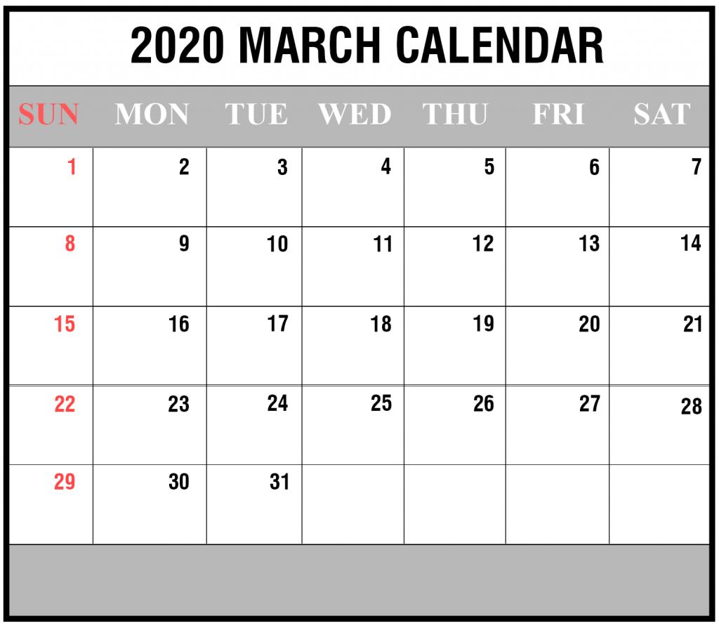 March 2020 Cute Calendar