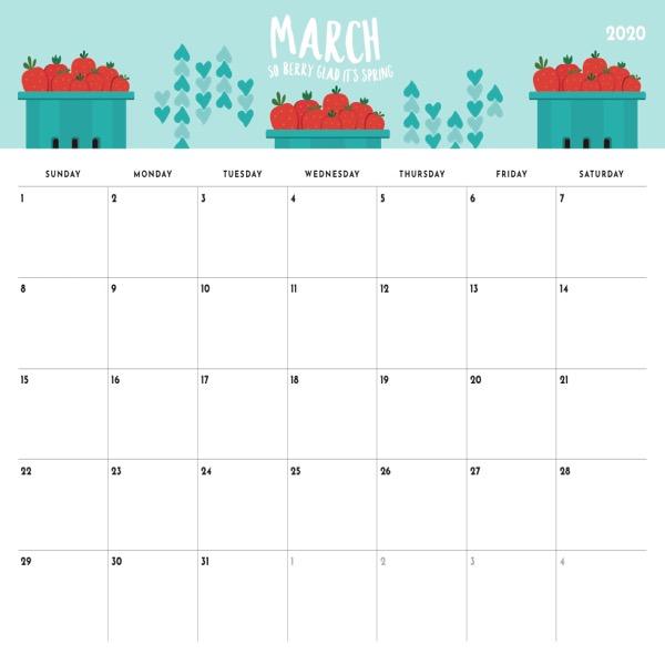 March 2020 Editable Calendar Printable