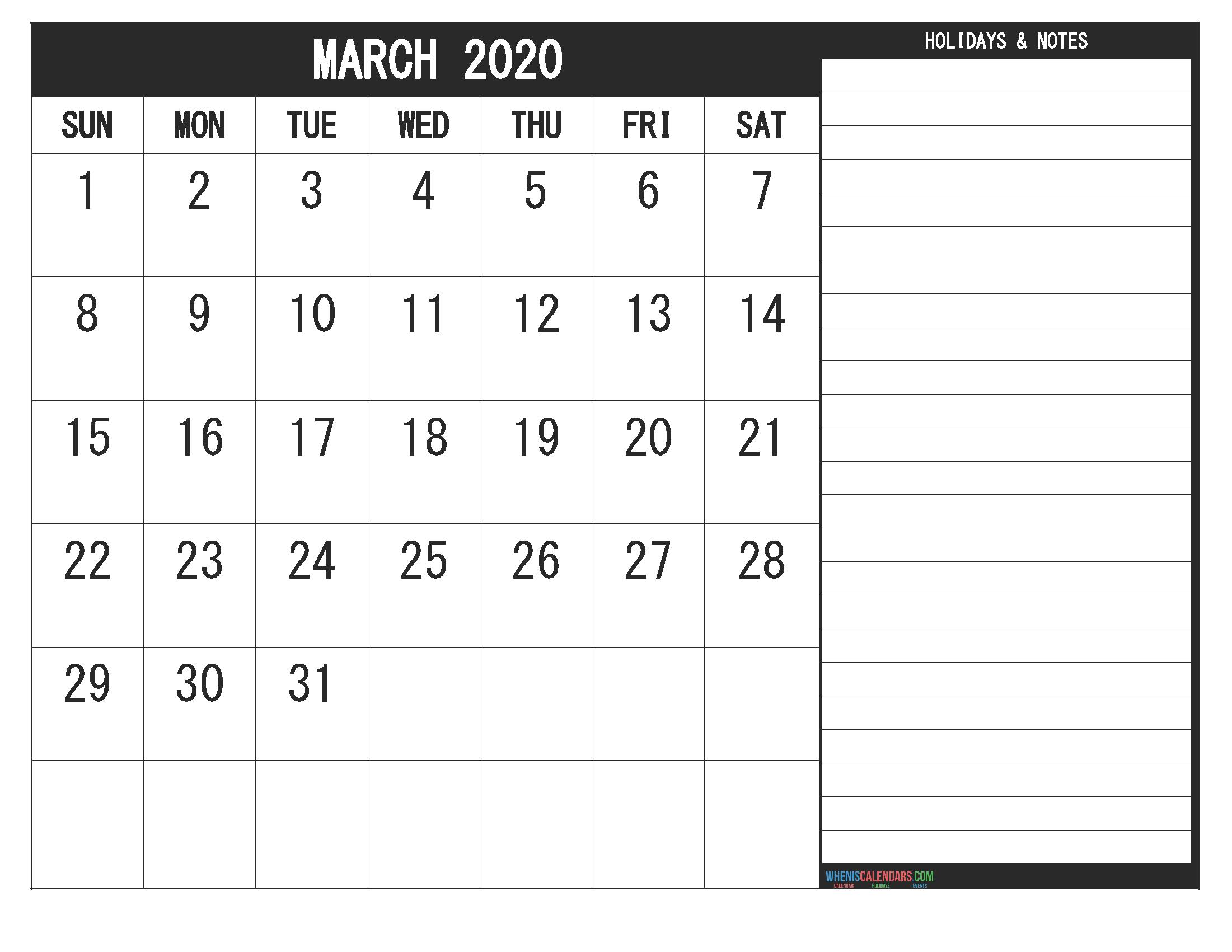 Printable March 2020 Fillable Calendar