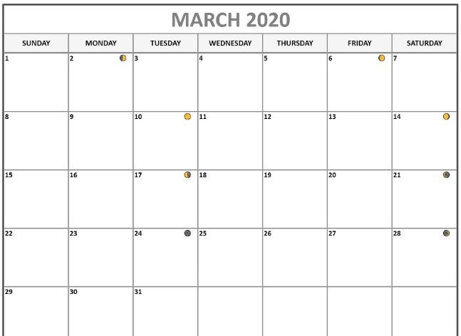 March 2020 Moon Phases Template | March 2020 Lunar Calendar