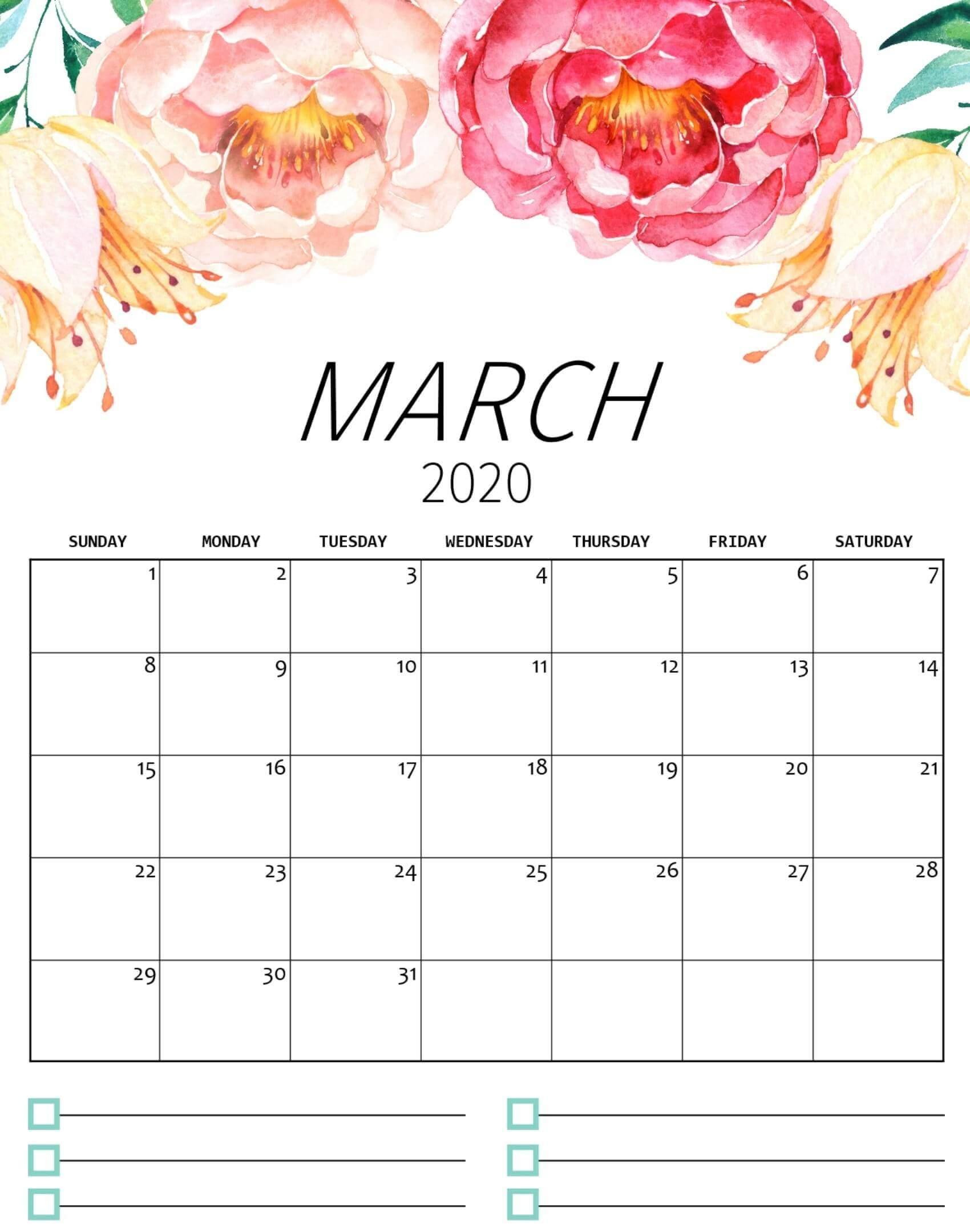 march 2020 calendar cute