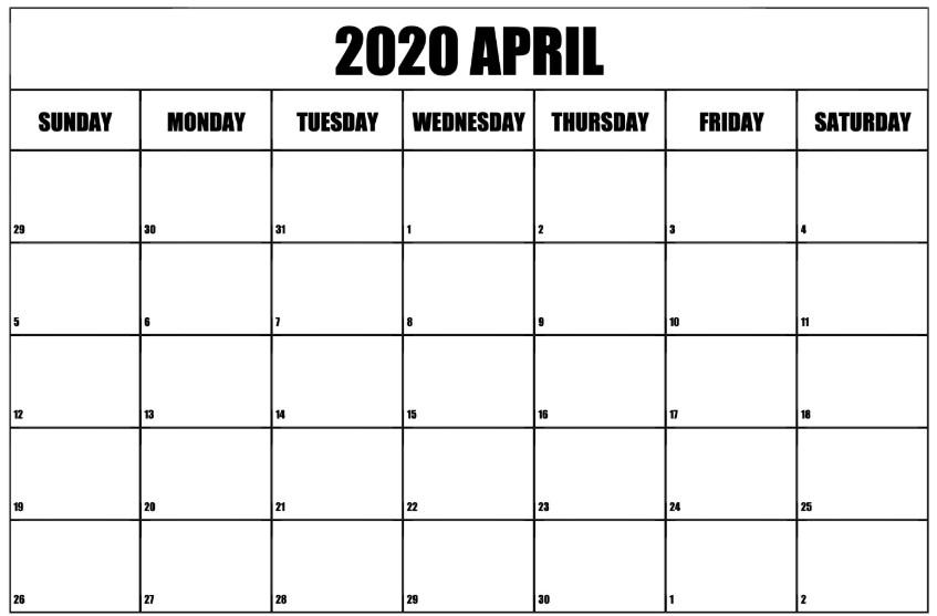 April 2020 Calendar Doc