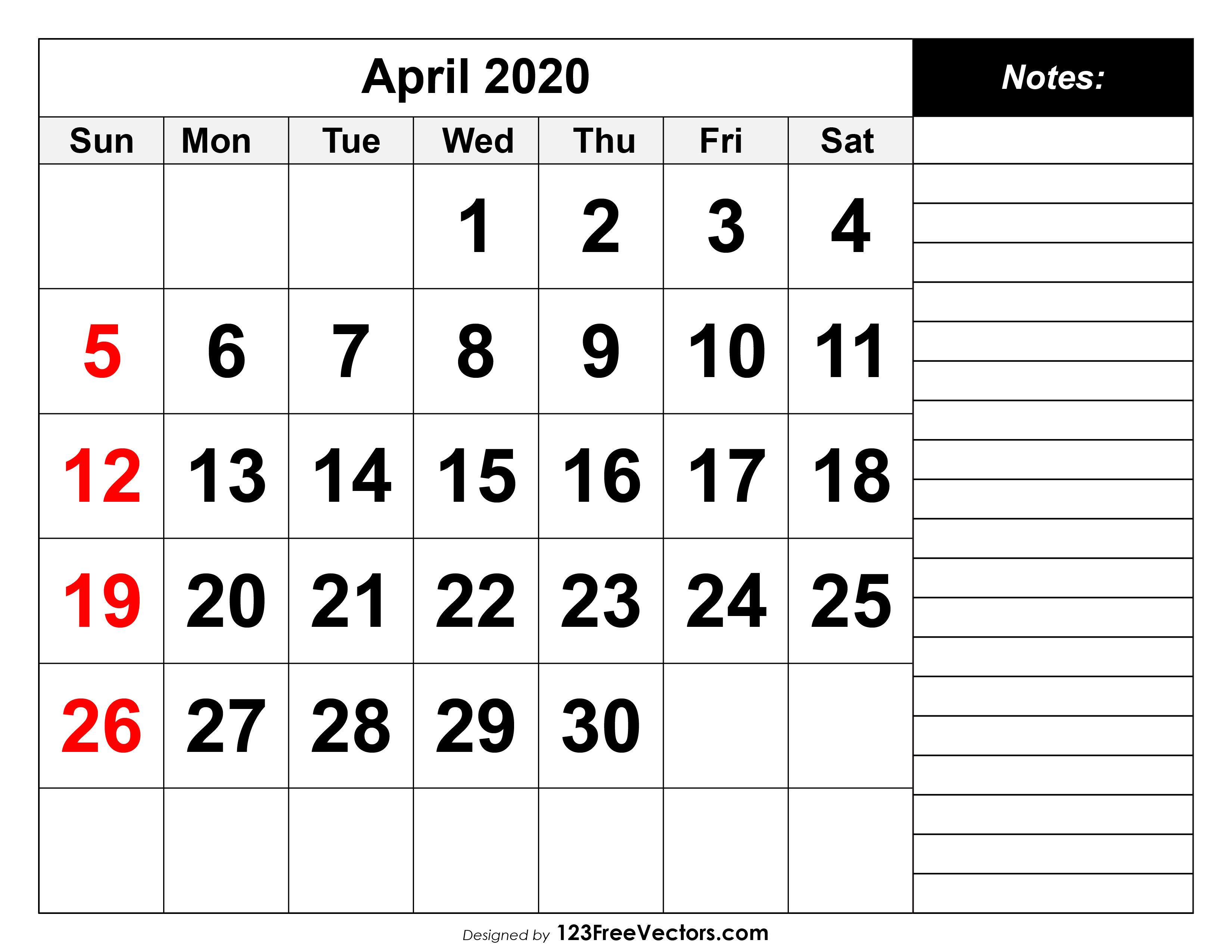 Blank April Calendar 2020 Fillable