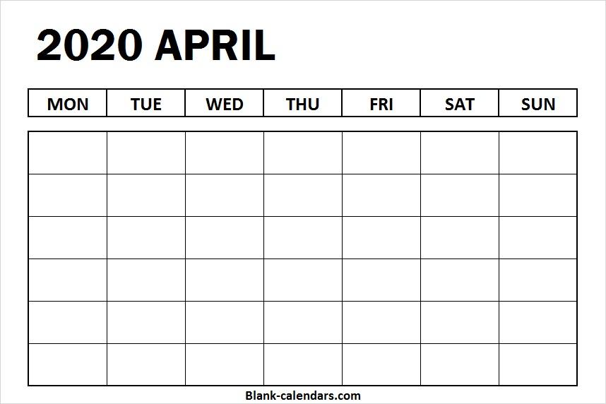 Blank Calendar April 2020 Excel