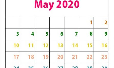 Cute May 2020 Calendar For Kids, Students