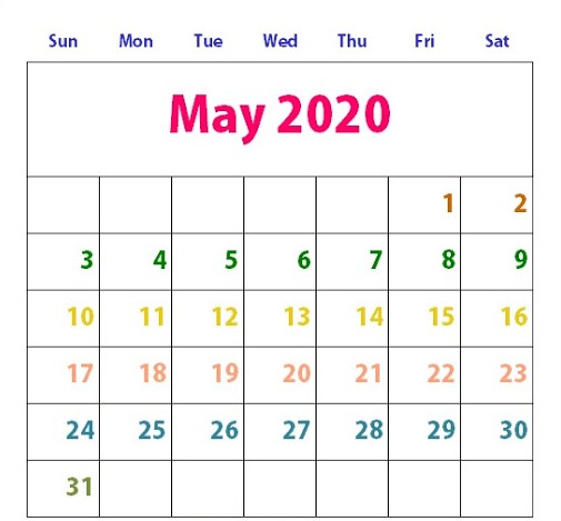 Cute May 2020 Calendar Printable Template for Kids, Students