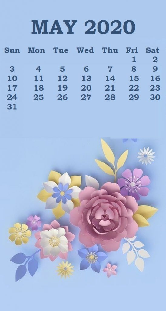 Cute May 2020 Calendar Floral Wall Calendar
