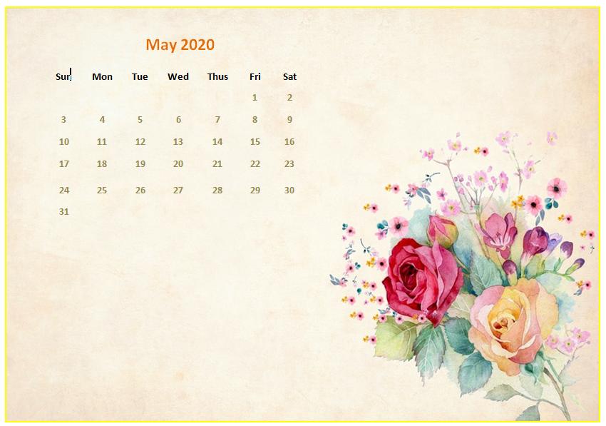 Cute May 2020 Calendar Printable Template