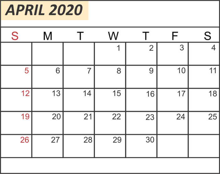 Free April Calendar 2020 Printable Template