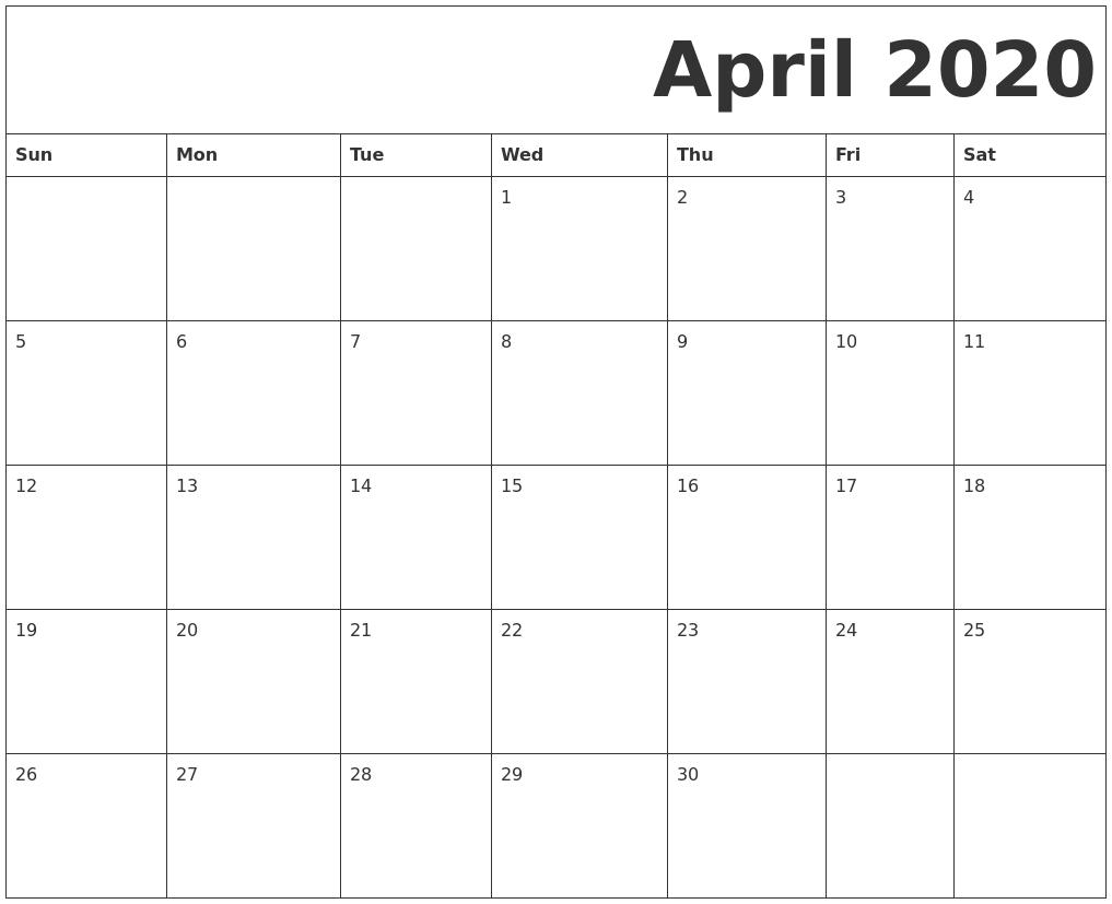 Free Printable Calendar April 2020