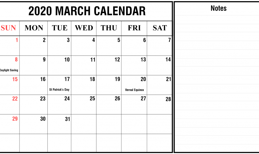 March Holidays 2020 Calendar with Events & Festivals List