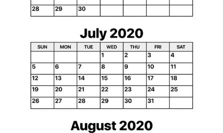 May June July 2020 Calendar