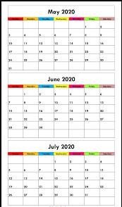 May June July 2020 Printable Calendar
