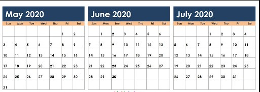 May June July Calendar 2020 PDF Word Excel