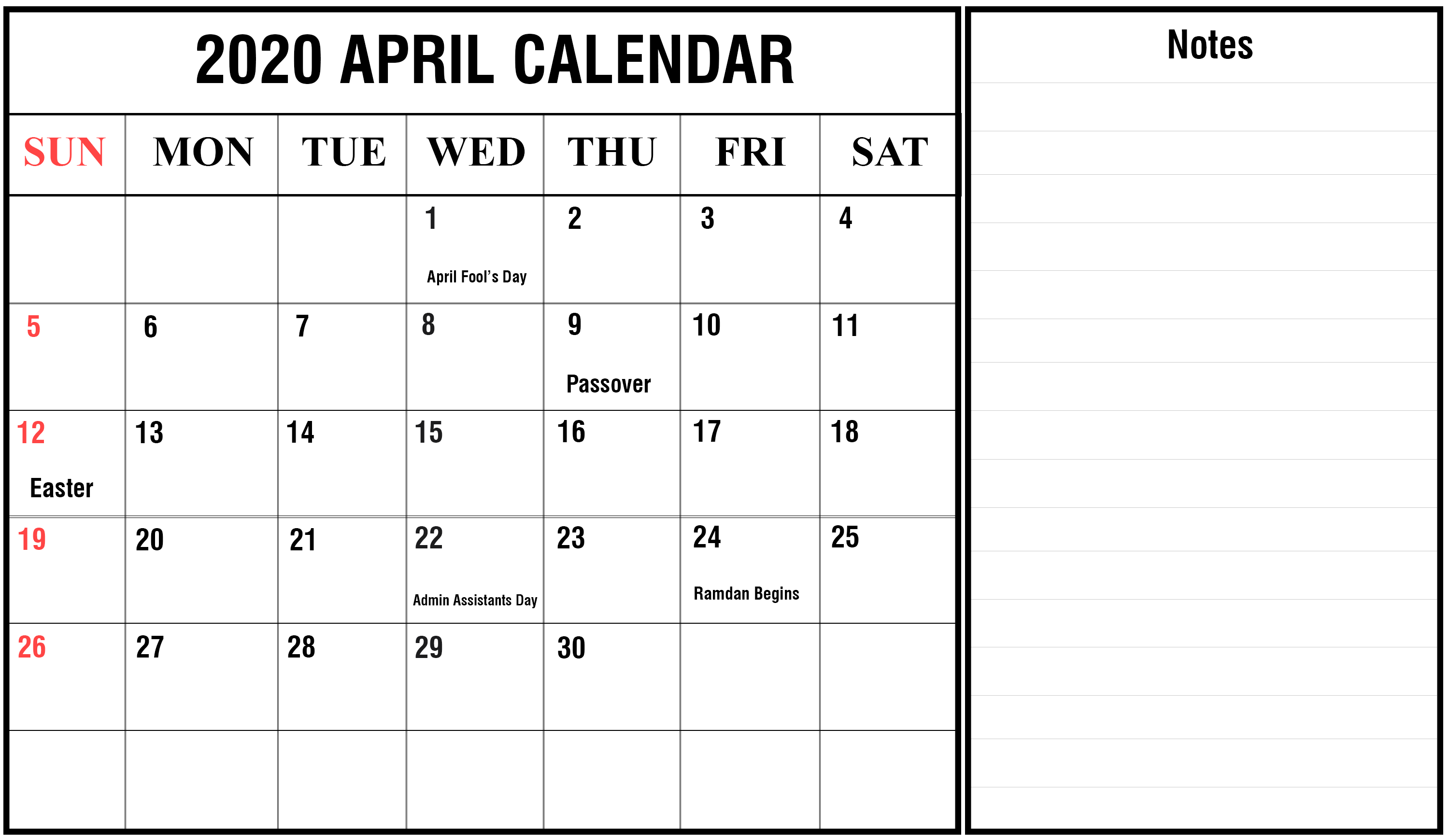 april 2020 fillable calendar notes