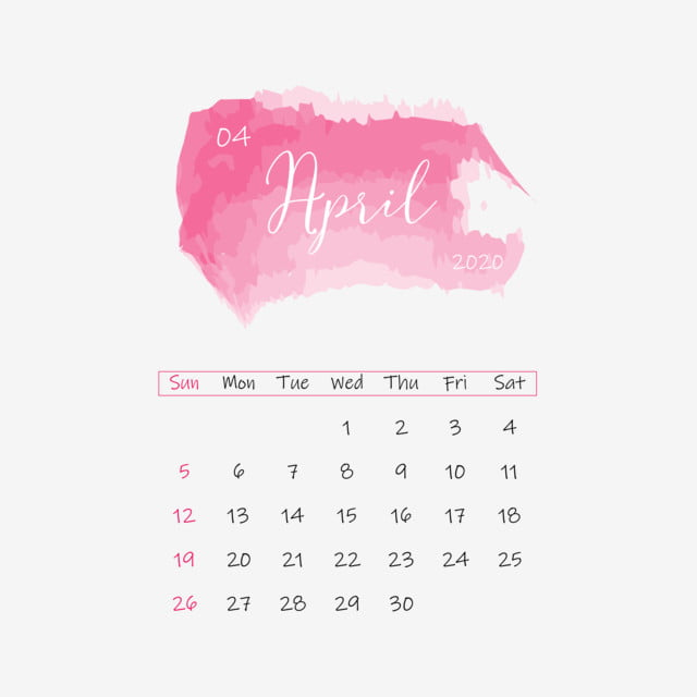 April 2020 Calendar Pink Design