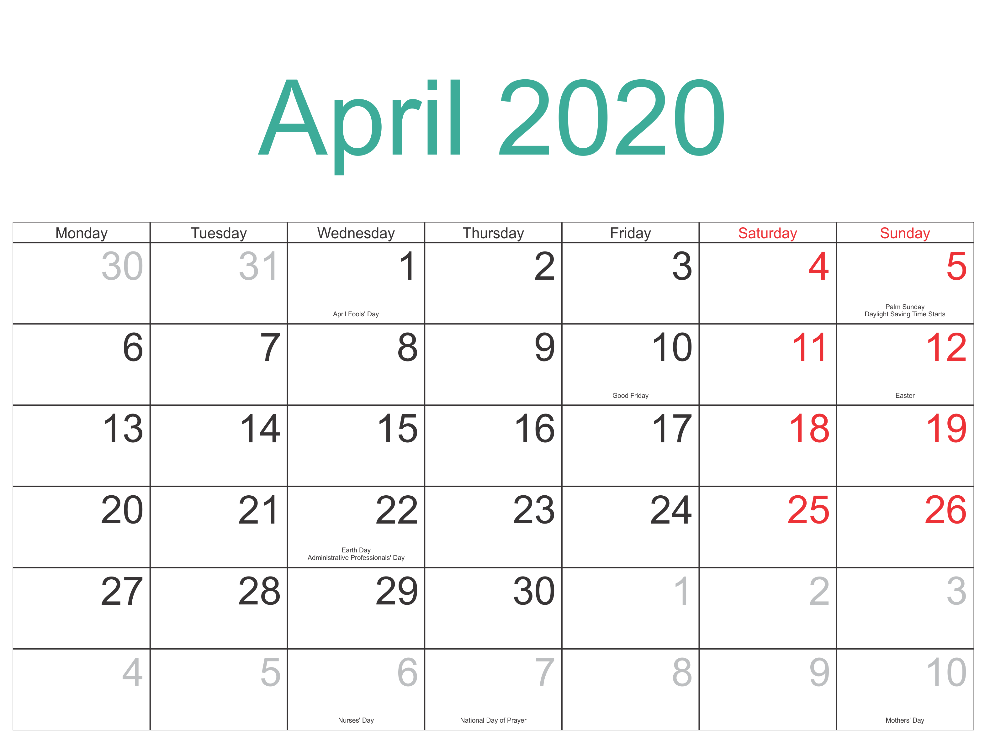 April 2020 Calendar With Holidays usa