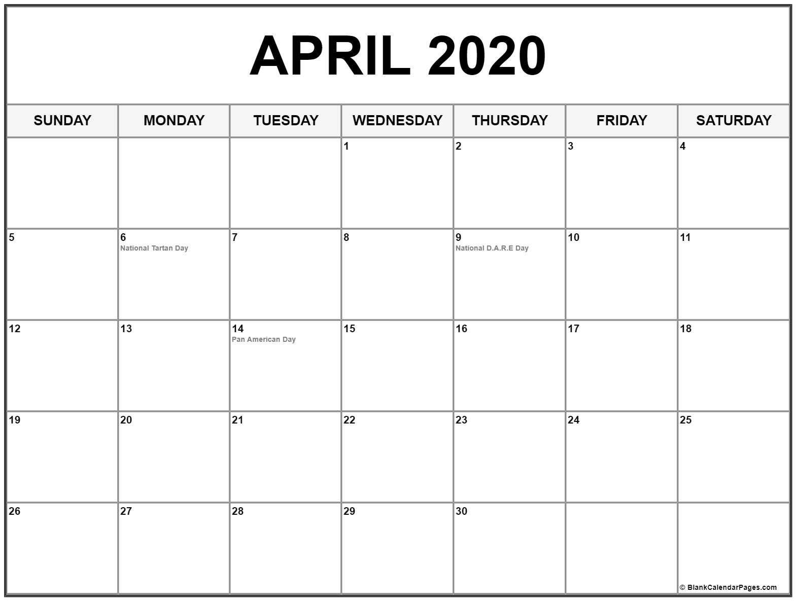 April 2020 Calendar US Holidays