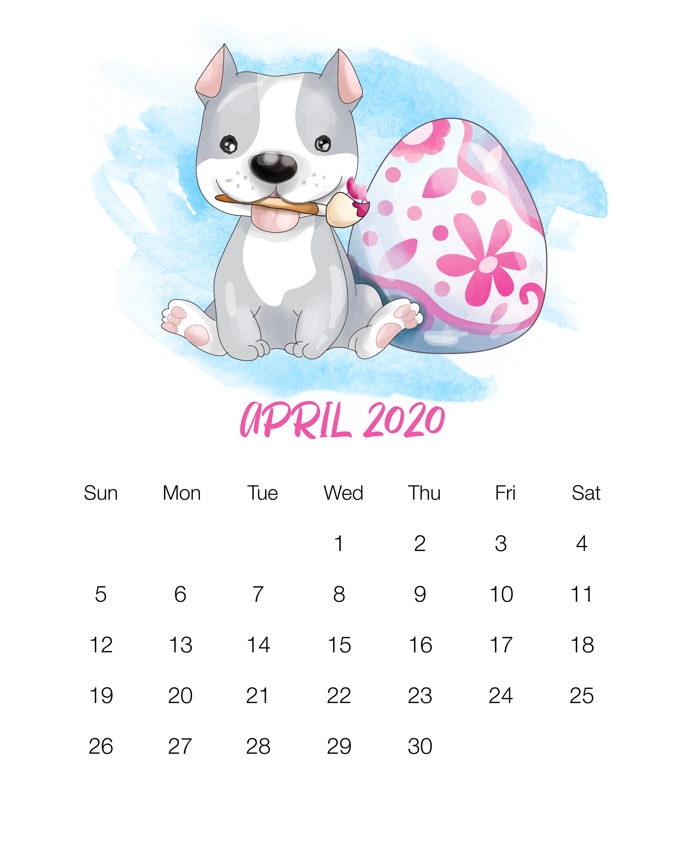 Cute April 2020 Calendar Floral Template