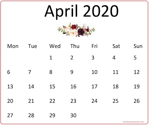 Cute April 2020 Calendar Wallpaper