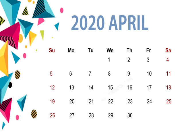 Floral Cute April 2020 Calendar Printable for Kids, Students