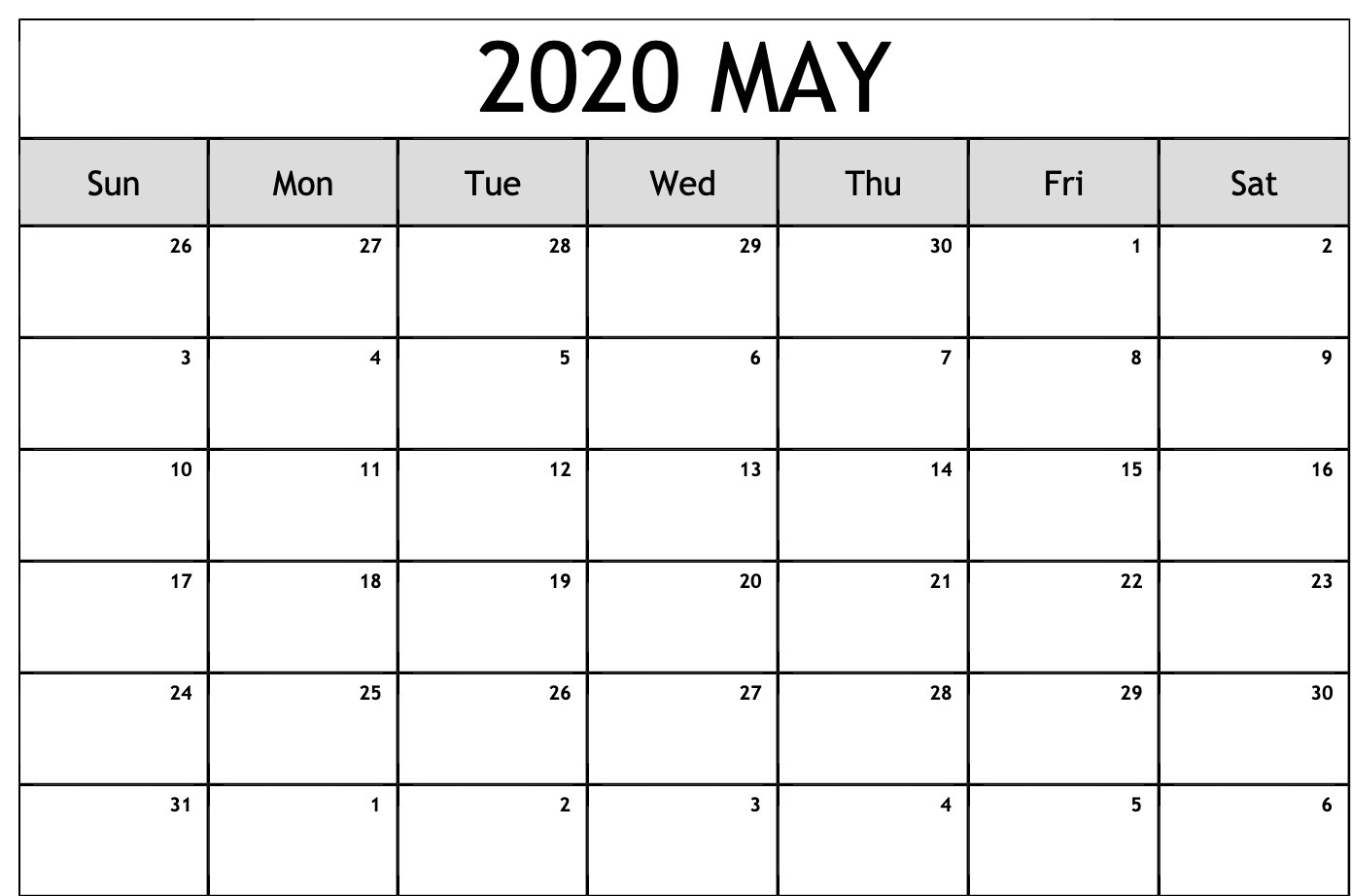 Free May 2020 Calendar Download