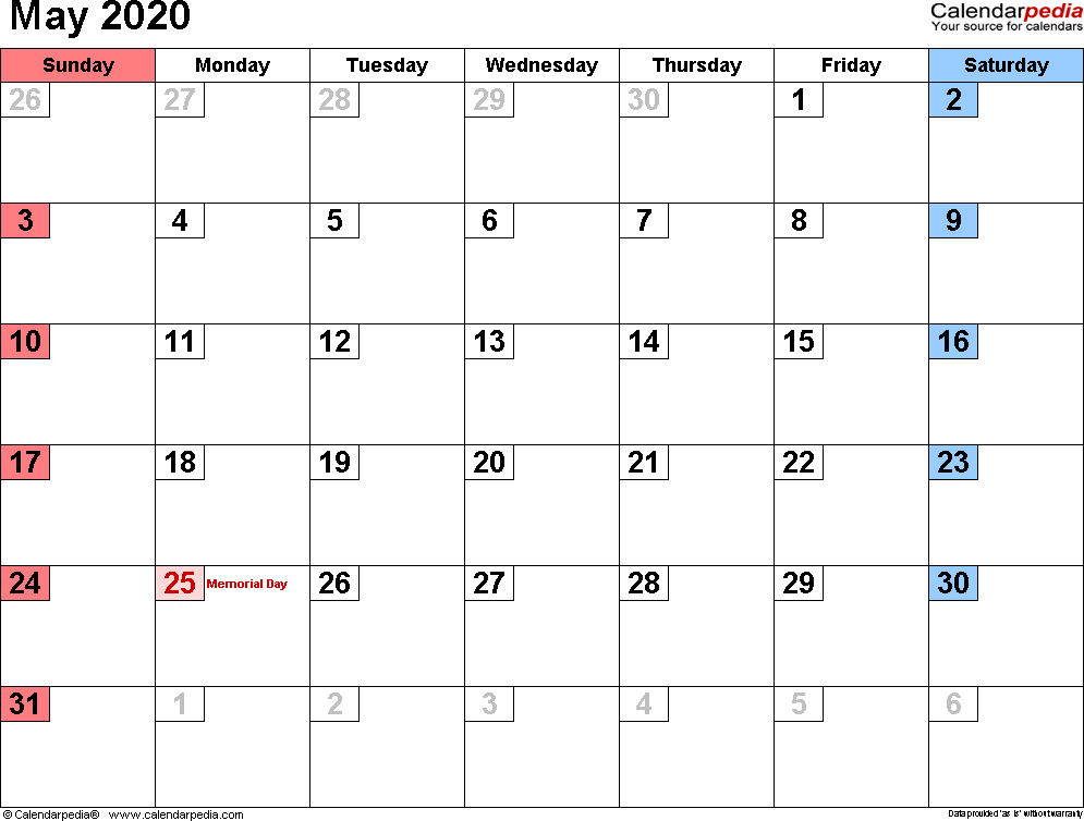 May 2020 Calendar in PDF, Word, Excel