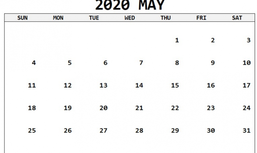 Blank May Calendar 2020 Printable Template