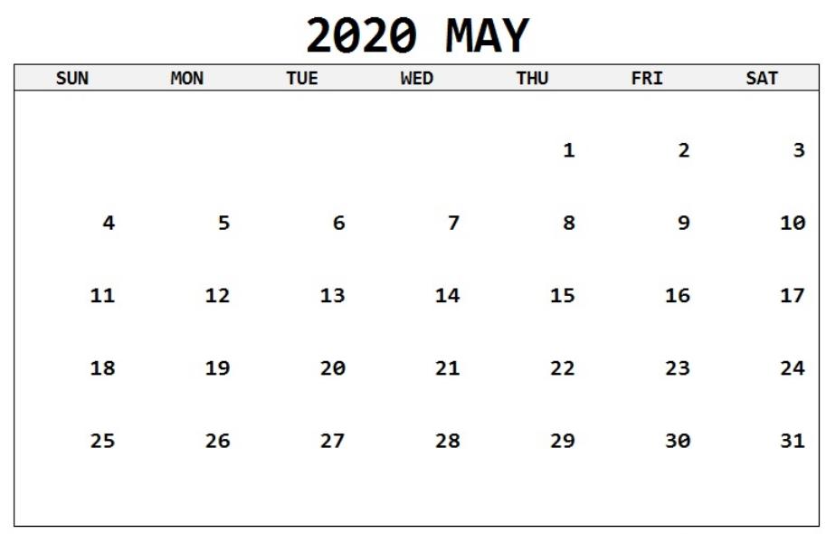 May Calendar 2020 Landscape