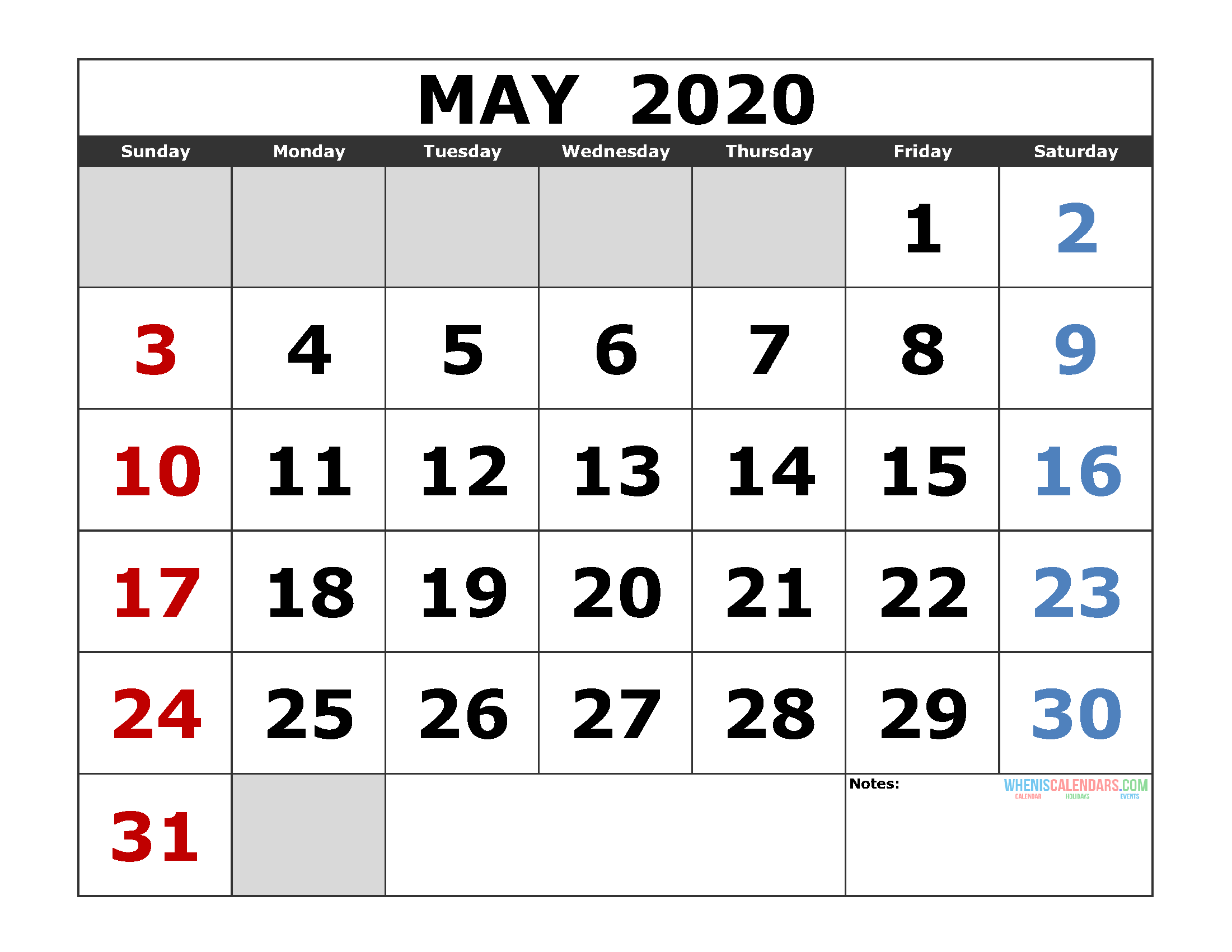 Printable Calendar For May 2020