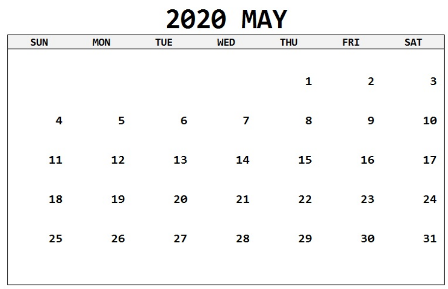 calendar of may month