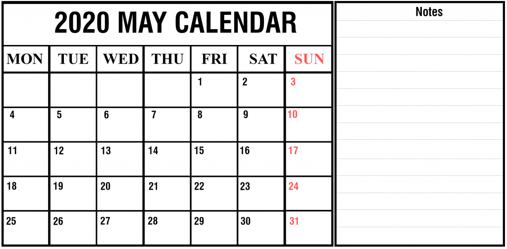 may 2020 fillable calendar