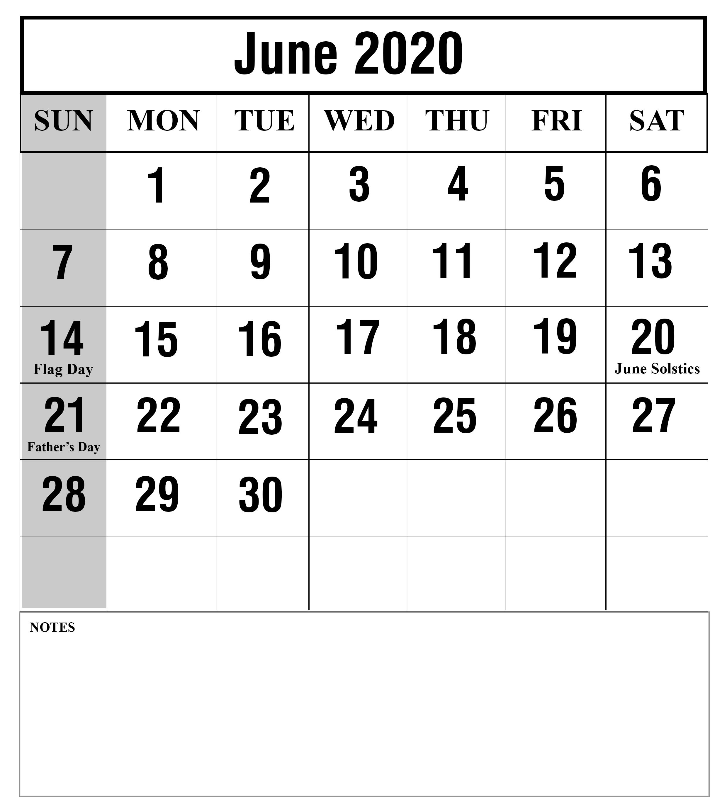 Blank June 2020 Calendar Portrait