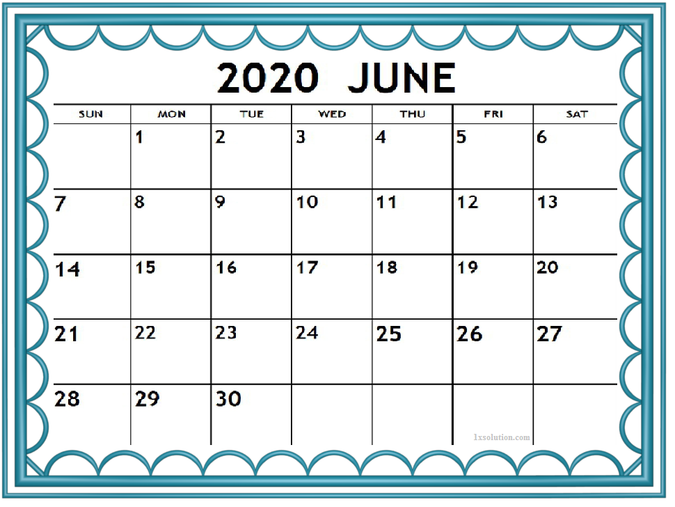Cute June 2020 Calendar