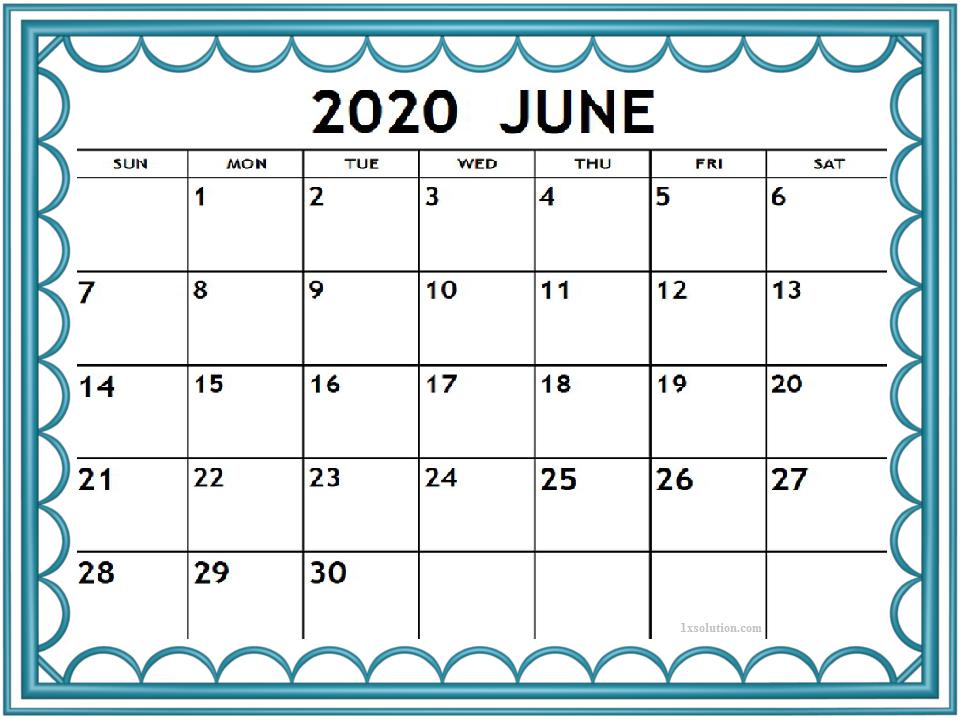 Cute June 2020 Desktop Calendar