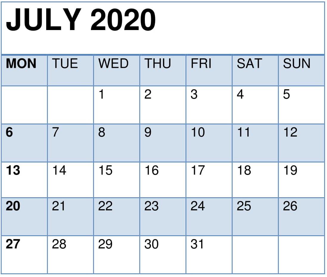 Decorative July 2020 Calendar
