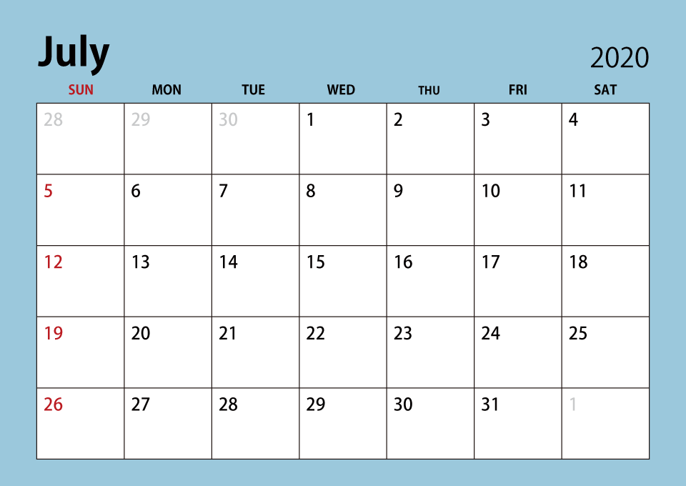 July 2020 Cute Calendar