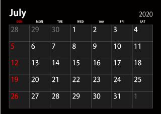 July 2020 Decorative Calendar Template