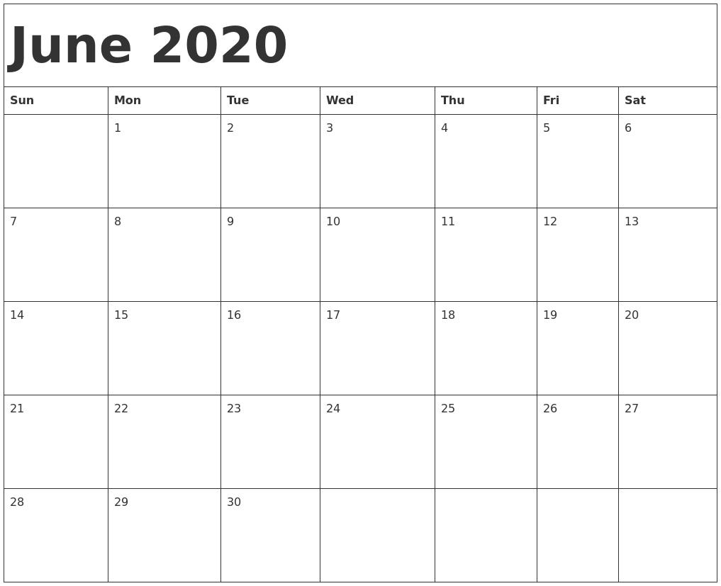 June 2020 Free Printable Calendar Template