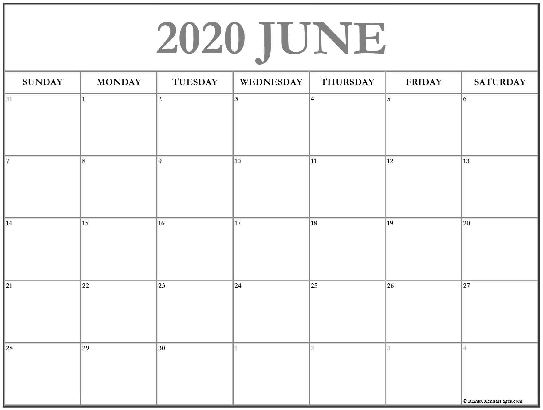 Simple June Desktop Calendar