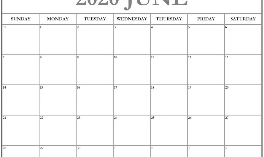 June 2020 Calendar Printable Cute For Waterproof Template