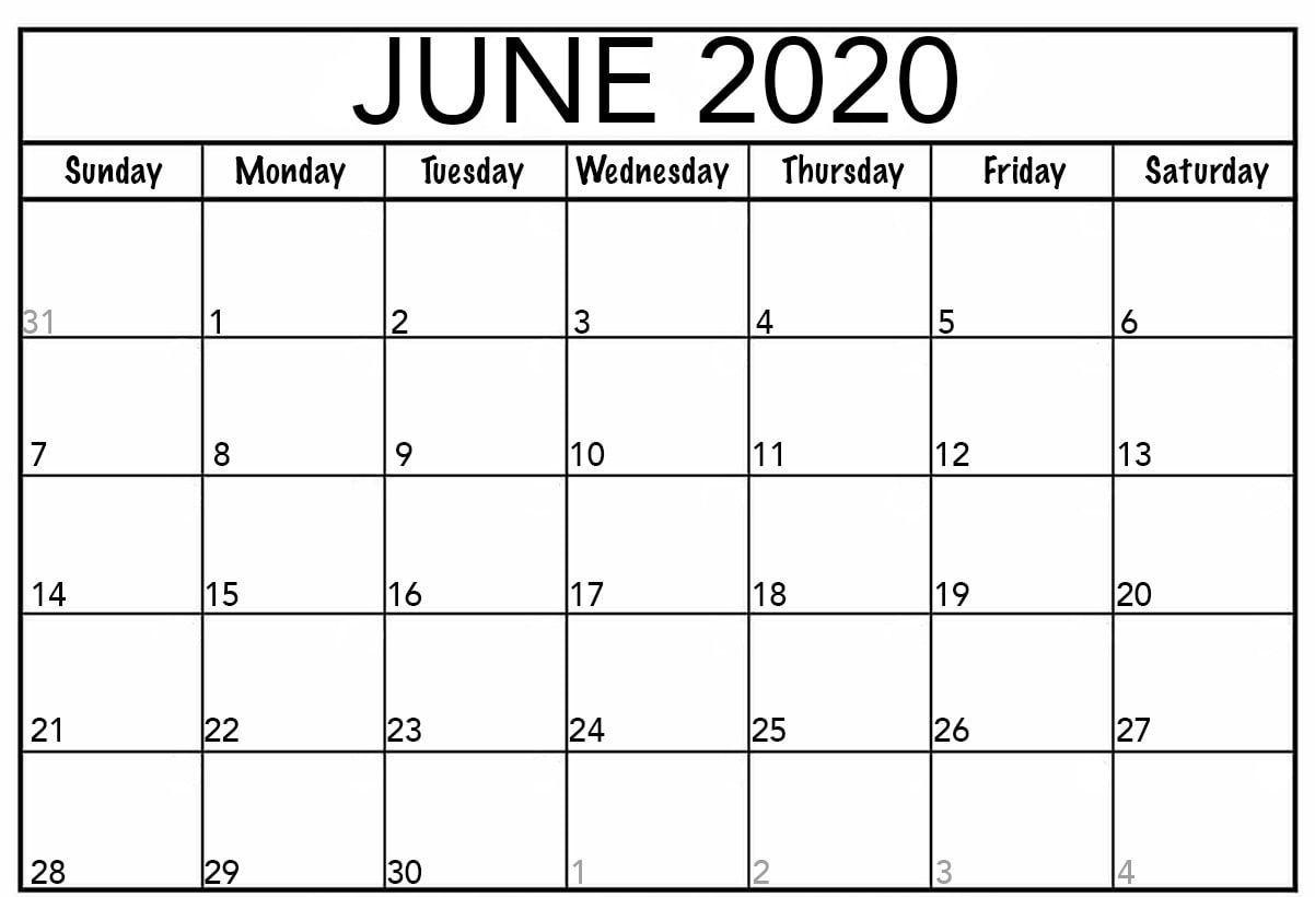 June Calendar 2020 Template