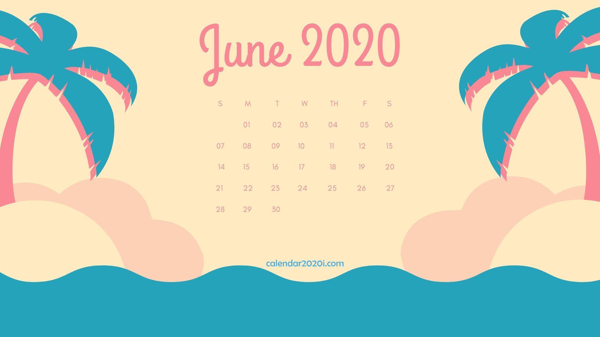 decorative June 2020 Calendar floral