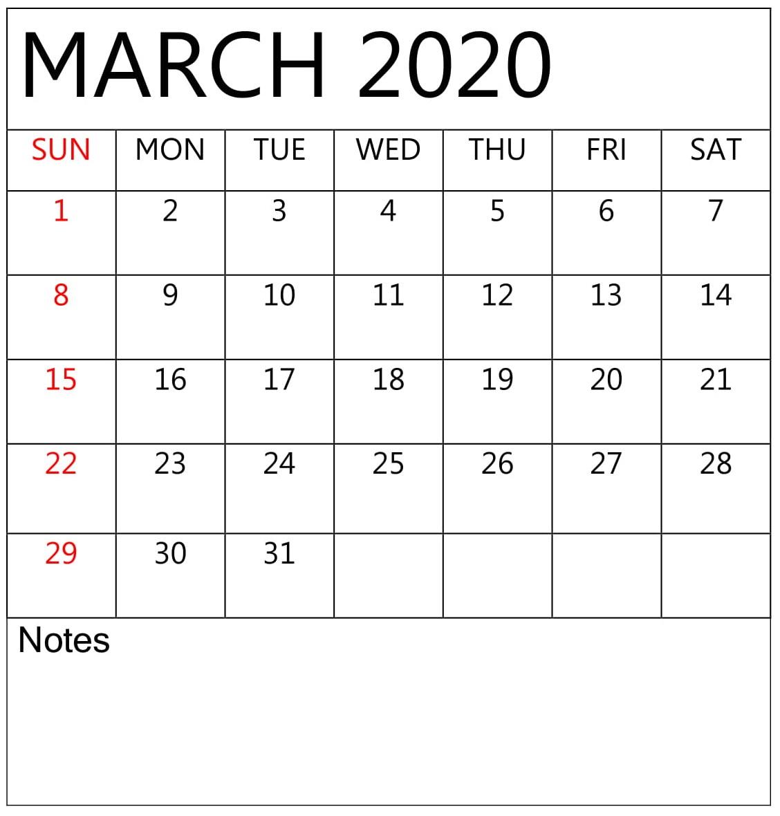 Blank Calendar March 2020 Template
